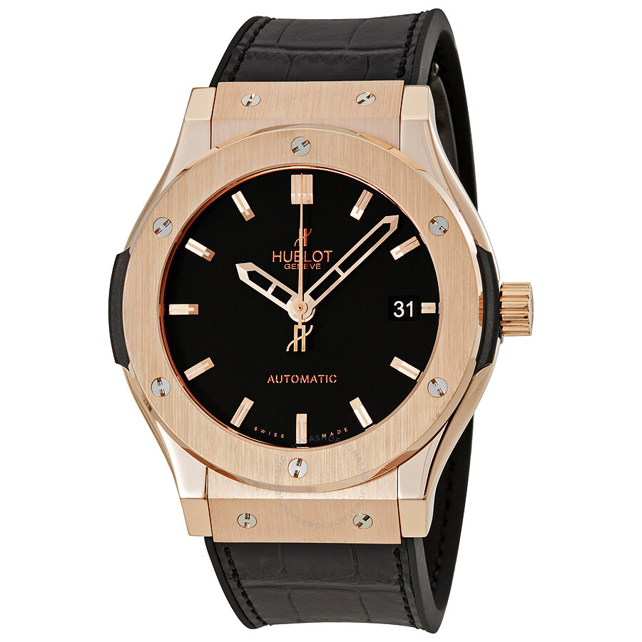 Hublot classic fusion 18kt king gold automatic black dial men 39 s watch 511 classic for Watches hublot