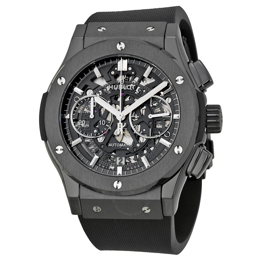 Hublot classic fusion aerofusion chronograph automatic black magic skeleton dial men 39 s watch 525 for Watches hublot