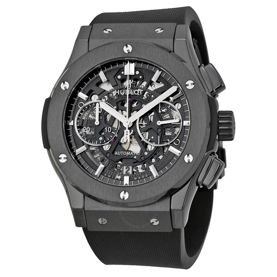 Hublot classic fusion aerofusion chronograph automatic black magic skeleton dial men 39 s watch 525 for Watches hublot