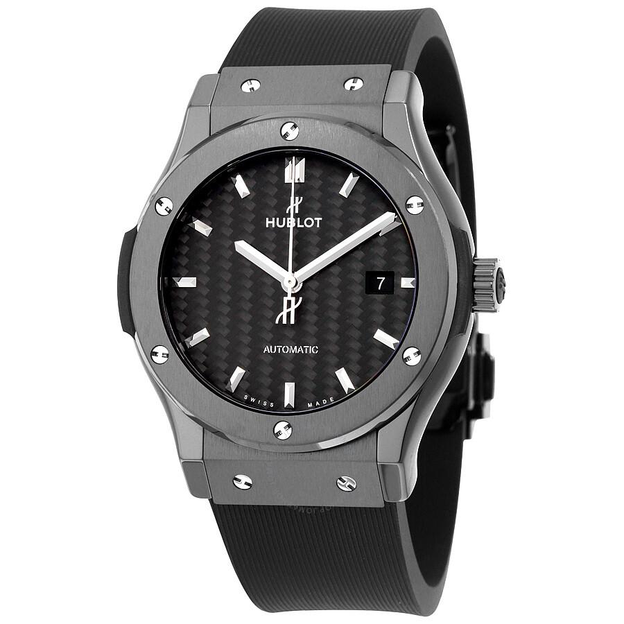 Hublot classic fusion automatic black carbon fiber dial black rubber men 39 s watch 542 for Hublot watches