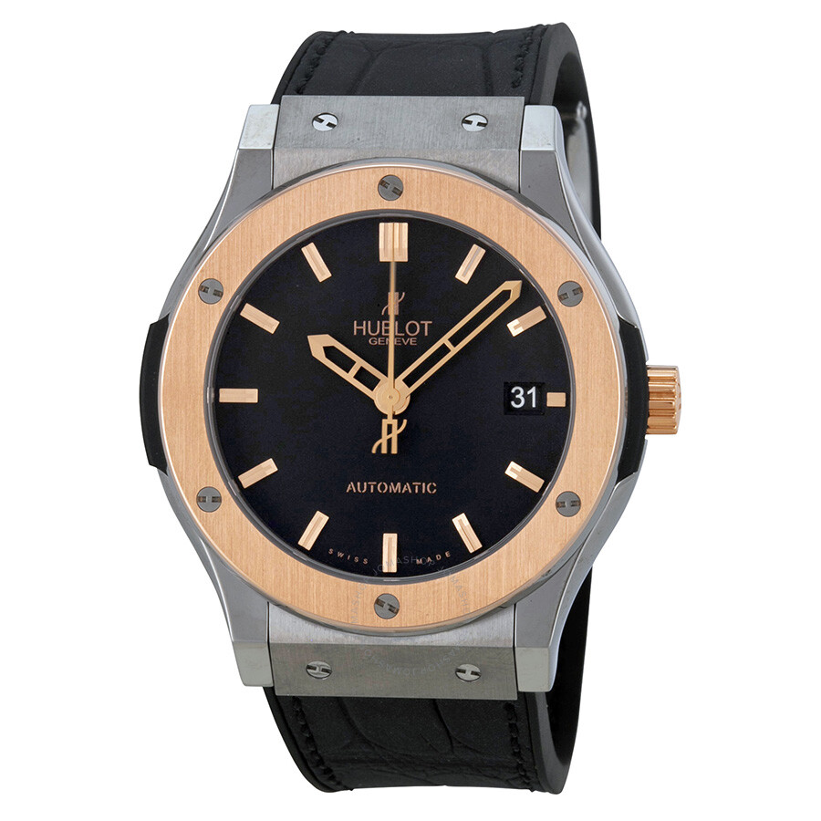Hublot classic fusion automatic black dial black leather men 39 s watch 511no1180lr classic for Watches hublot