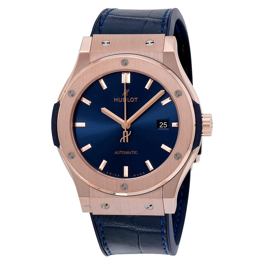 hublot classic fusion blue sunray dial 18k rose gold. Black Bedroom Furniture Sets. Home Design Ideas