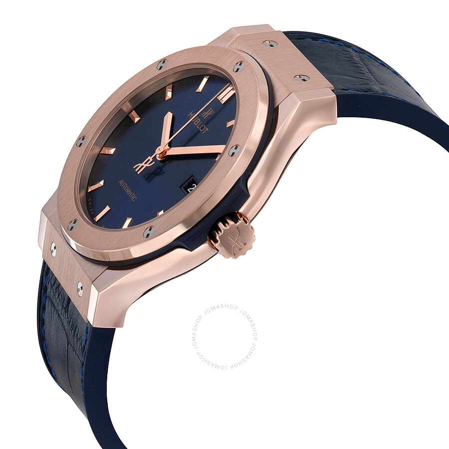 Hublot Classic Fusion Automatic Blue Sunray Dial 18kt Rose Gold Men s Watch  542.OX. 0203898509