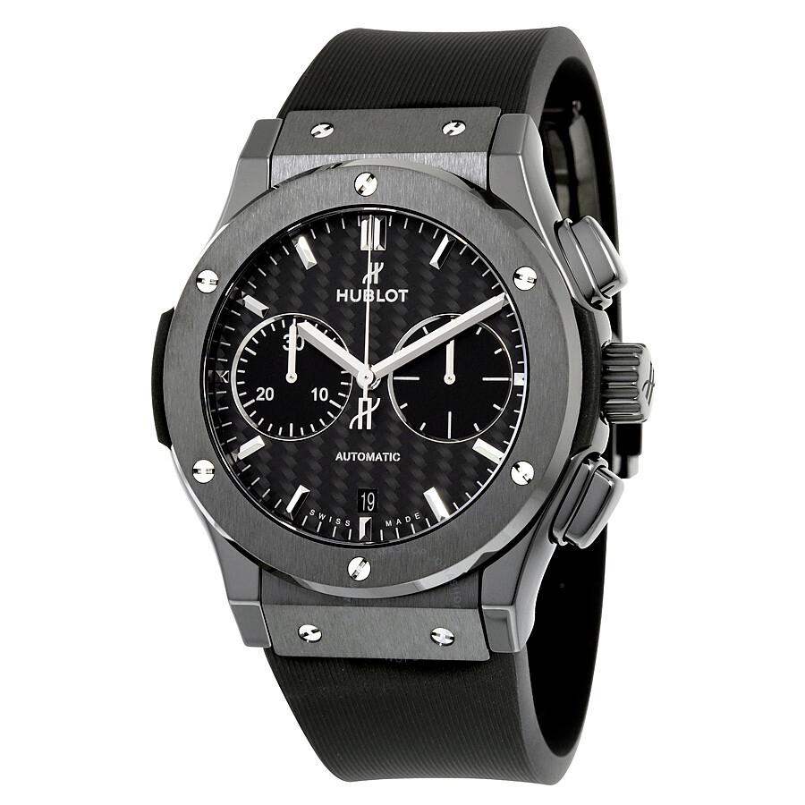 Hublot classic fusion chronograph black magic mat carbon fiber dial automatic men 39 s watch 521 cm for Hublot watches