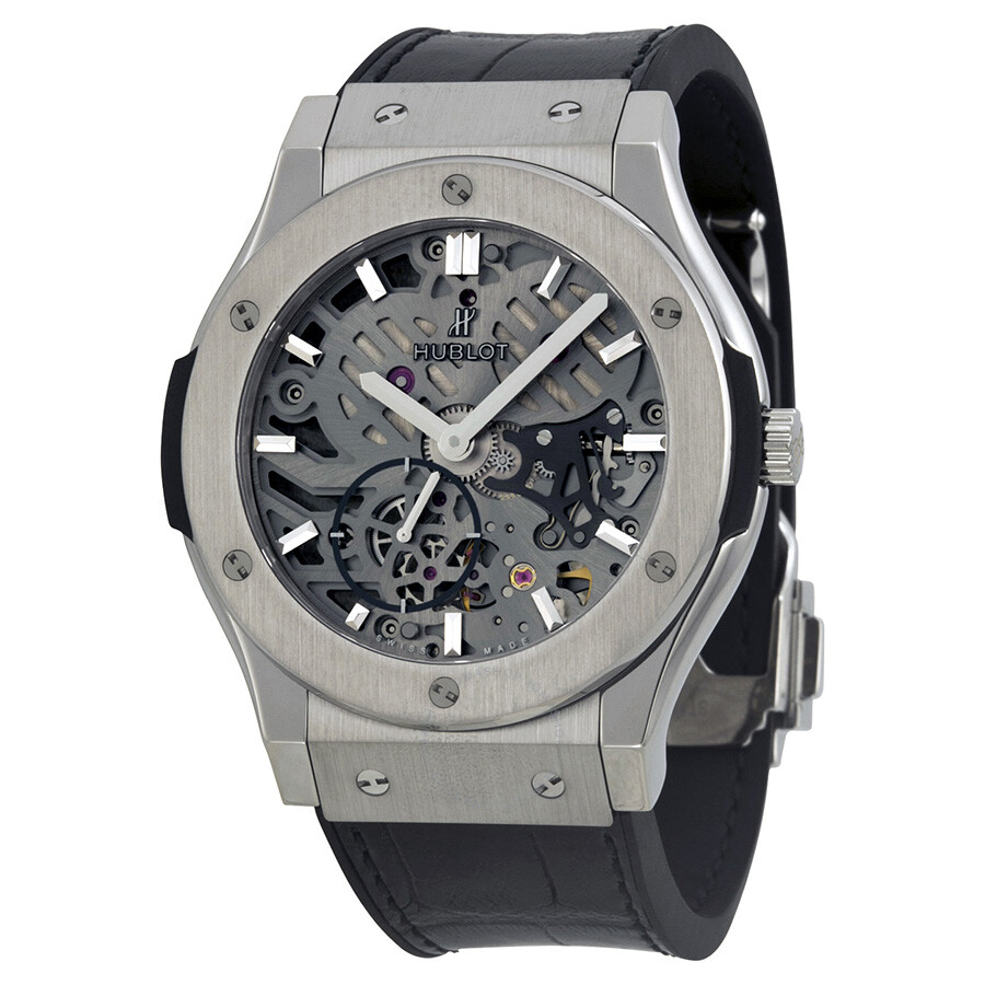 Hublot classic fusion hand wind skeleton dial men 39 s watch 545 classic fusion for Hublot watches
