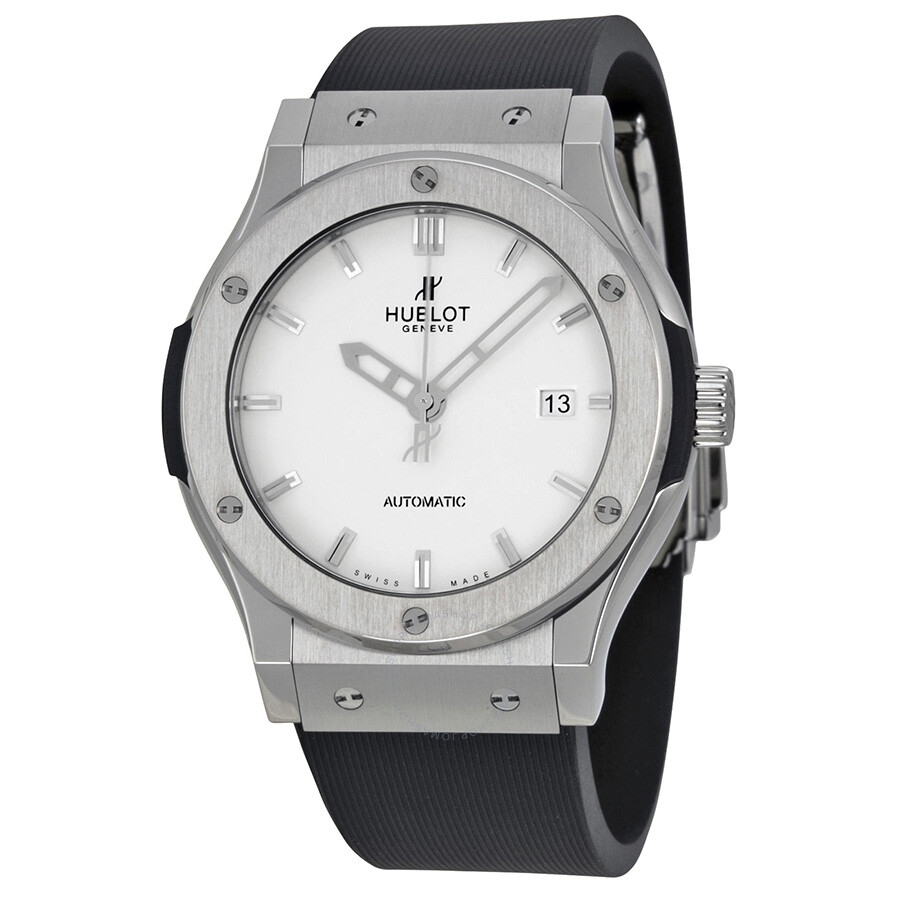 Hublot classic fusion automatic white dial rubber strap men watch 542 classic for Rubber watches