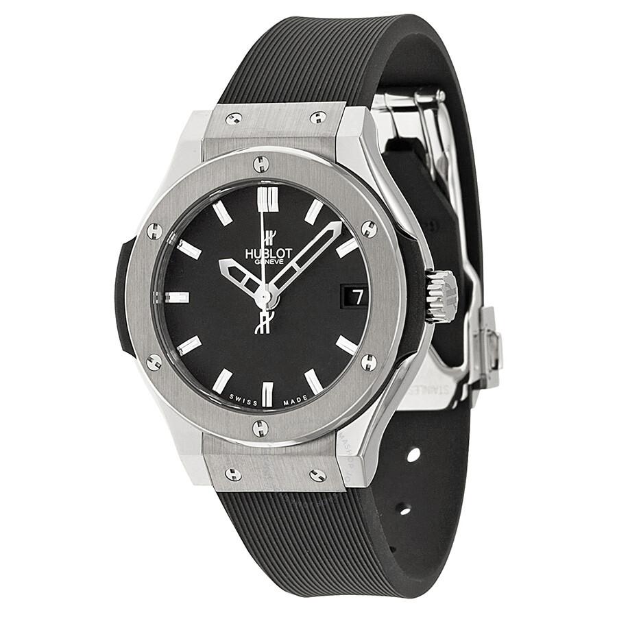 Hublot classic fusion black dial black rubber ladies watch 581 classic fusion for Watches hublot