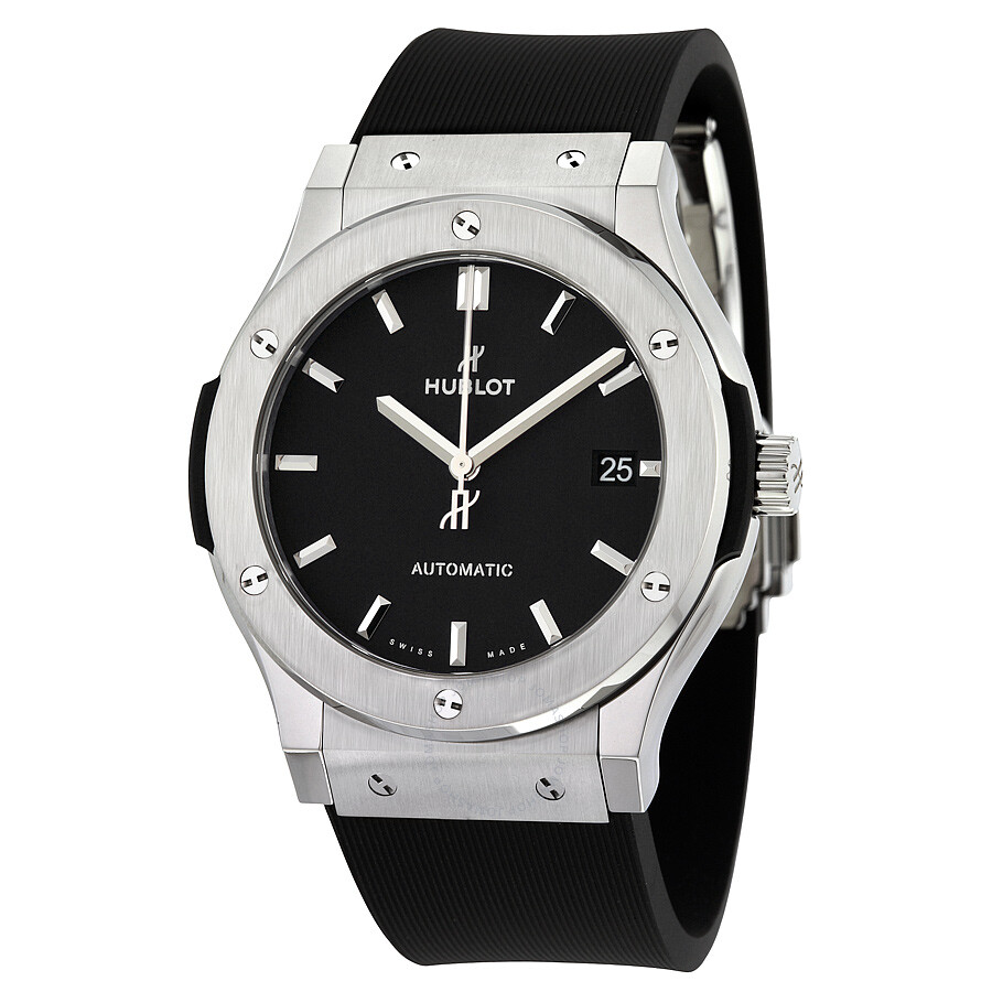 Hublot classic fusion black dial black rubber men 39 s 45mm watch 511 classic fusion for Rubber watches