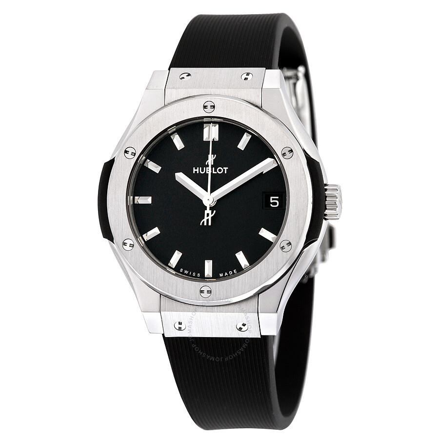 Hublot classic fusion titanium black dial black rubber ladies watch 581nx1171rx classic fusion for Hublot watches