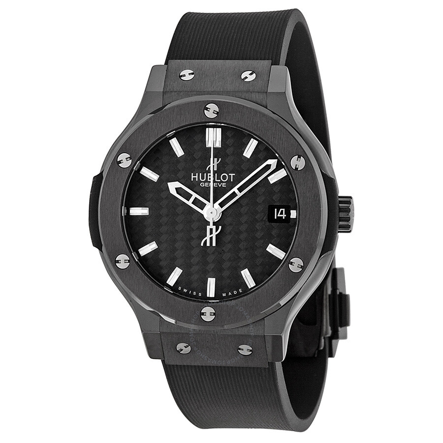 Hublot classic fusion black dial black rubber strap men 39 s watch 561 classic fusion for Watches hublot