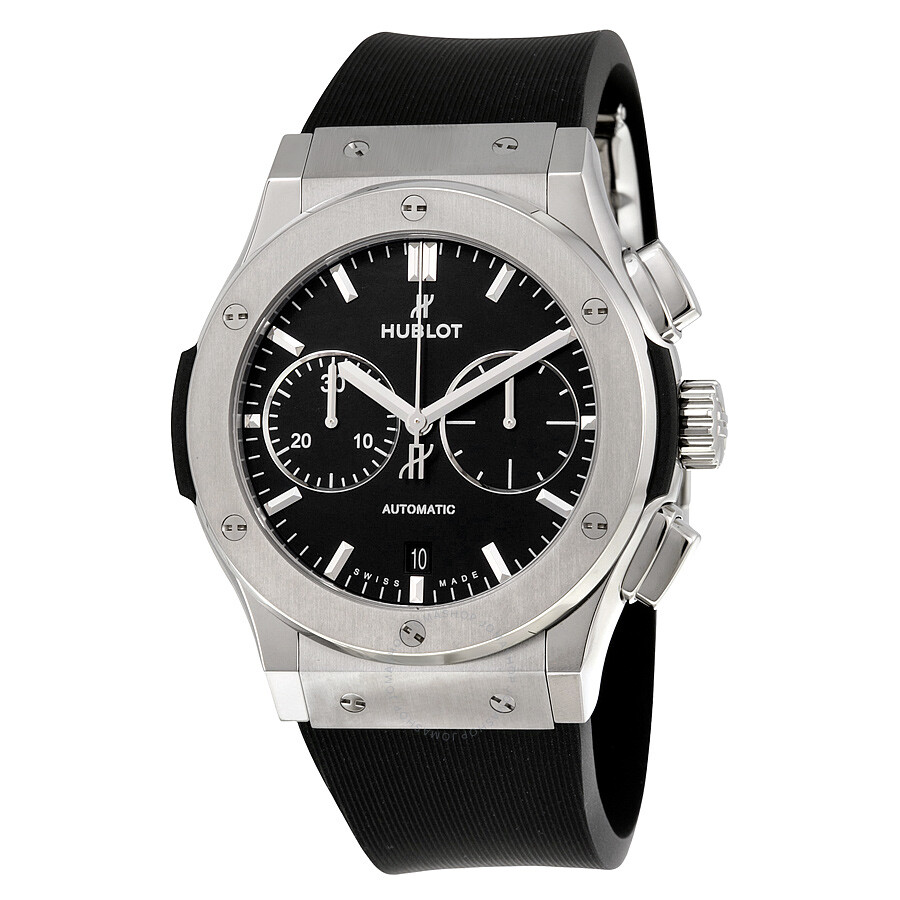Hublot classic fusion black dial chronograph men 39 s automatic watch 521 classic for Watches hublot
