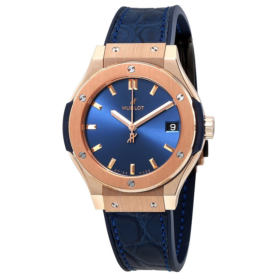 Hublot classic fusion blue dial 18kt rose gold ladies watch 581 classic fusion for Watches hublot