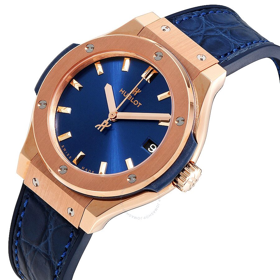 Hublot Classic Fusion Blue Dial 18kt Rose Gold Ladies Watch 581.OX.7180. 52c1919945