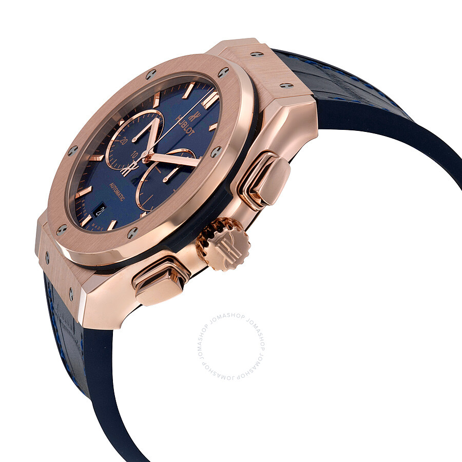Hublot Classic Fusion Blue Sunray Dial 18K King Gold Automatic Men's Watch 521.OX.7180.LR