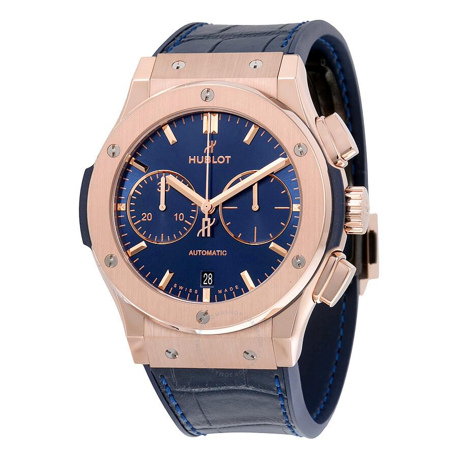 hublot classic fusion blue sunray 18k king gold
