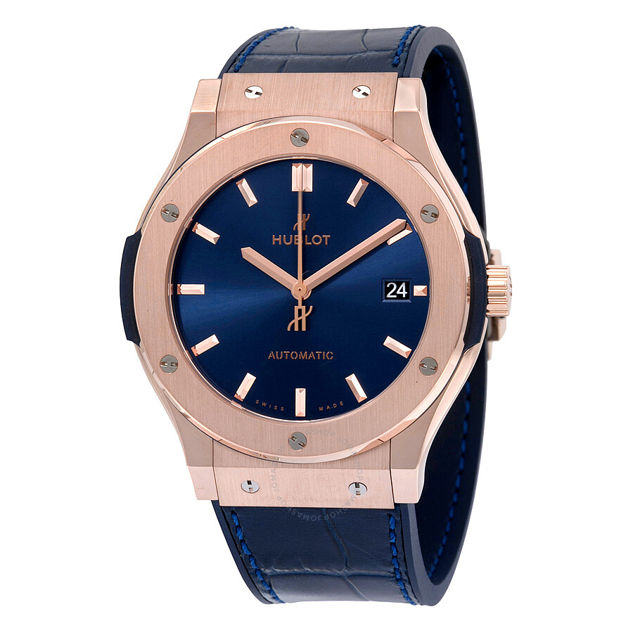 Hublot classic fusion blue sunray dial 18k king gold automatic men 39 s watch 511 for Watches hublot