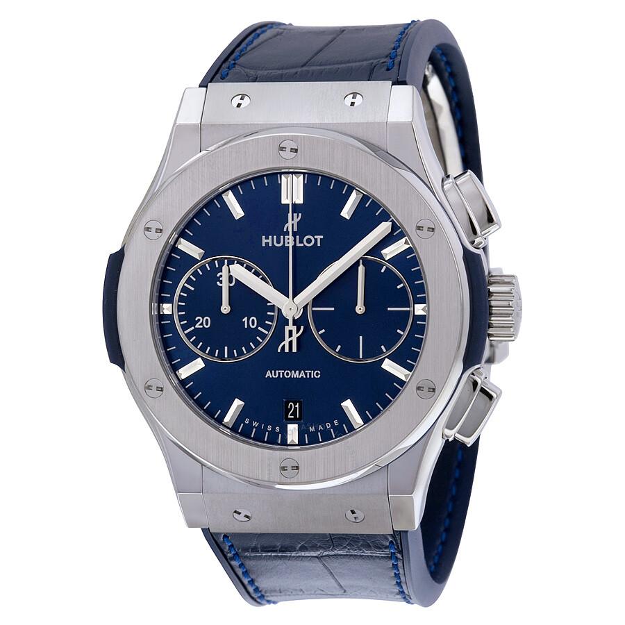 Hublot classic fusion blue sunray dial titanium automatic men 39 s watch 521 classic for Watches hublot