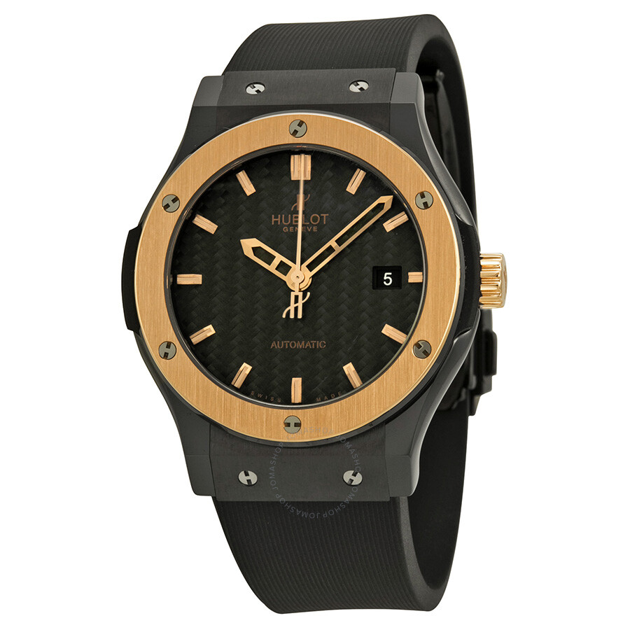 Hublot classic fusion ceramic king gold black dial men 39 s watch 542 classic fusion for Watches hublot