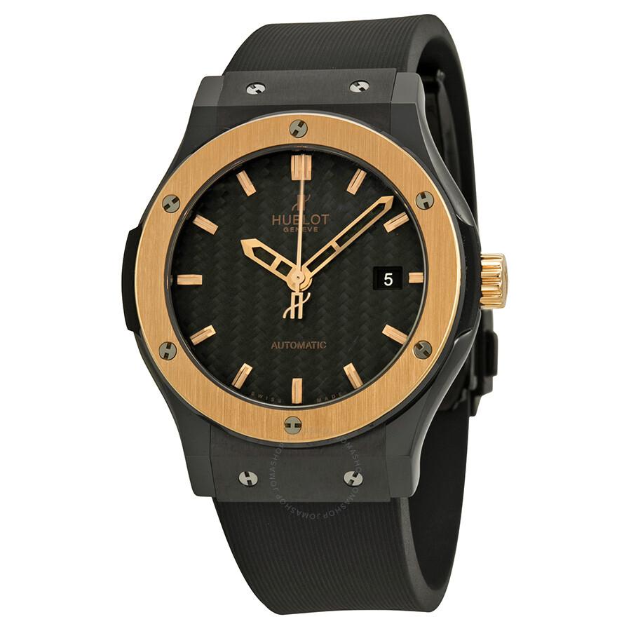 Hublot classic fusion ceramic king gold black dial men 39 s watch 542 classic fusion for Hublot watches