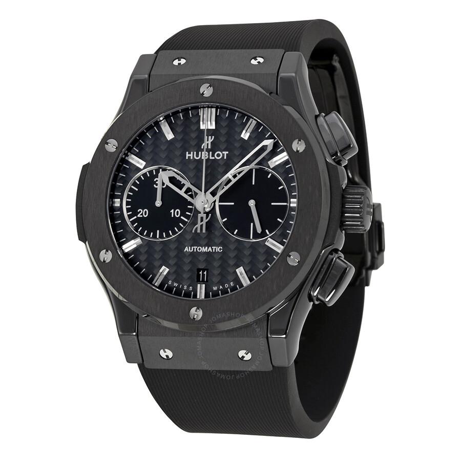 Hublot Classic Fusion Chronograph Black Carbon Fiber Dial Black Rubber Men s  Watch 521.CM. da8e57cfa6