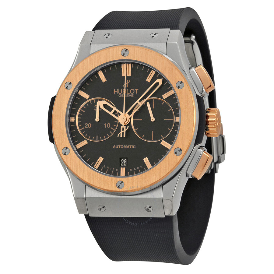 Hublot classic fusion chronograph black dial rubber men 39 s watch 521 classic fusion for Watches hublot