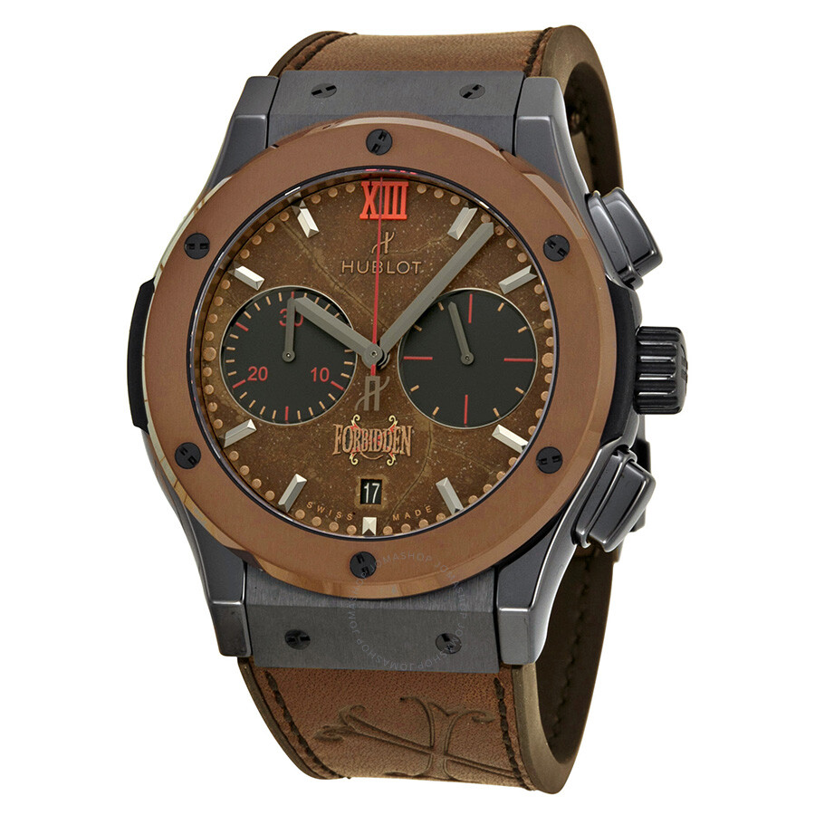 Hublot classic fusion forbidden chronograph automatic tobacco dial men 39 s watch 521cc0589vropx14 for Hublot watches