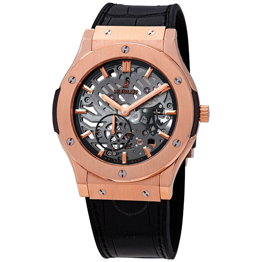Hublot Classic Fusion 18kt Rose Gold Hand Wind Skeleton Dial Black ...
