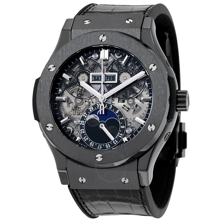 Hublot classic fusion automatic skeleton dial men 39 s watch 517 classic fusion for Classic skeleton watch