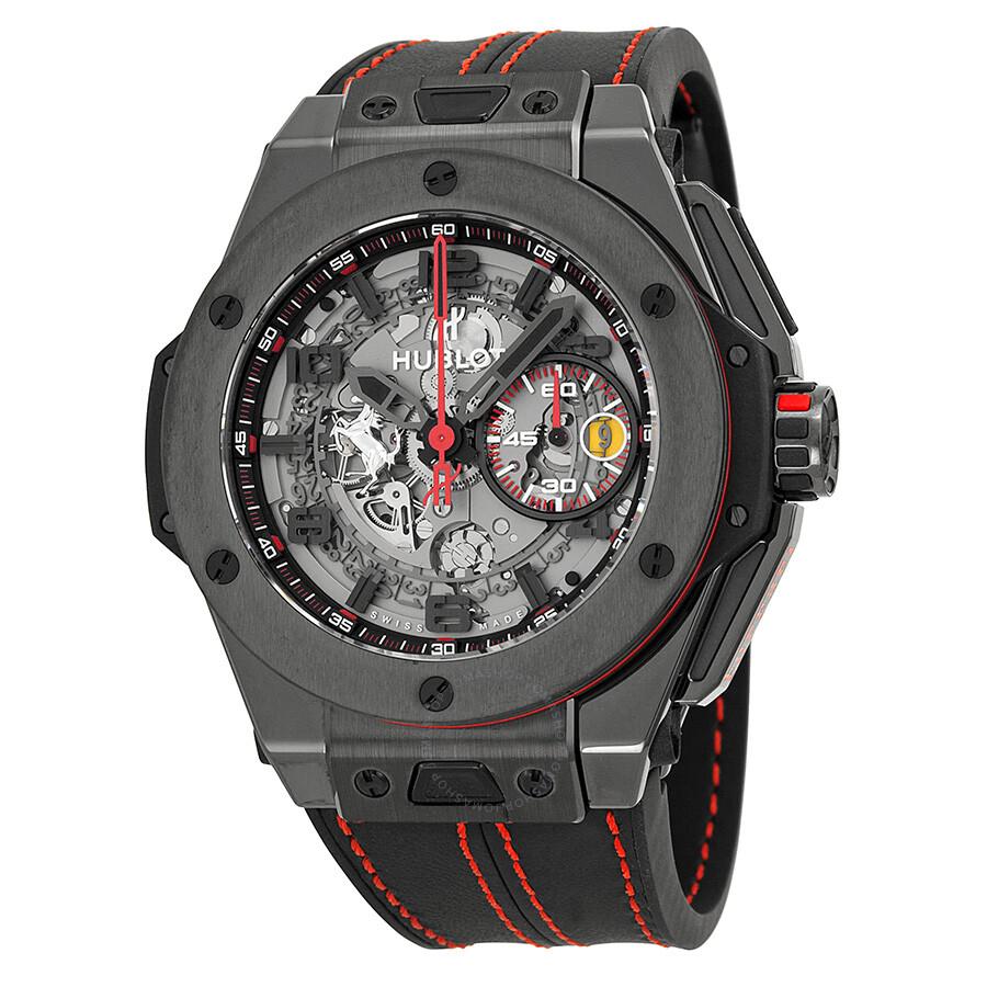 5d79f551bf74 Hublot Ferrari All Black LIMITED Automatic Openwork Dial Black Ceramic  Men s Watch Item No. 401.CX.0123.VR