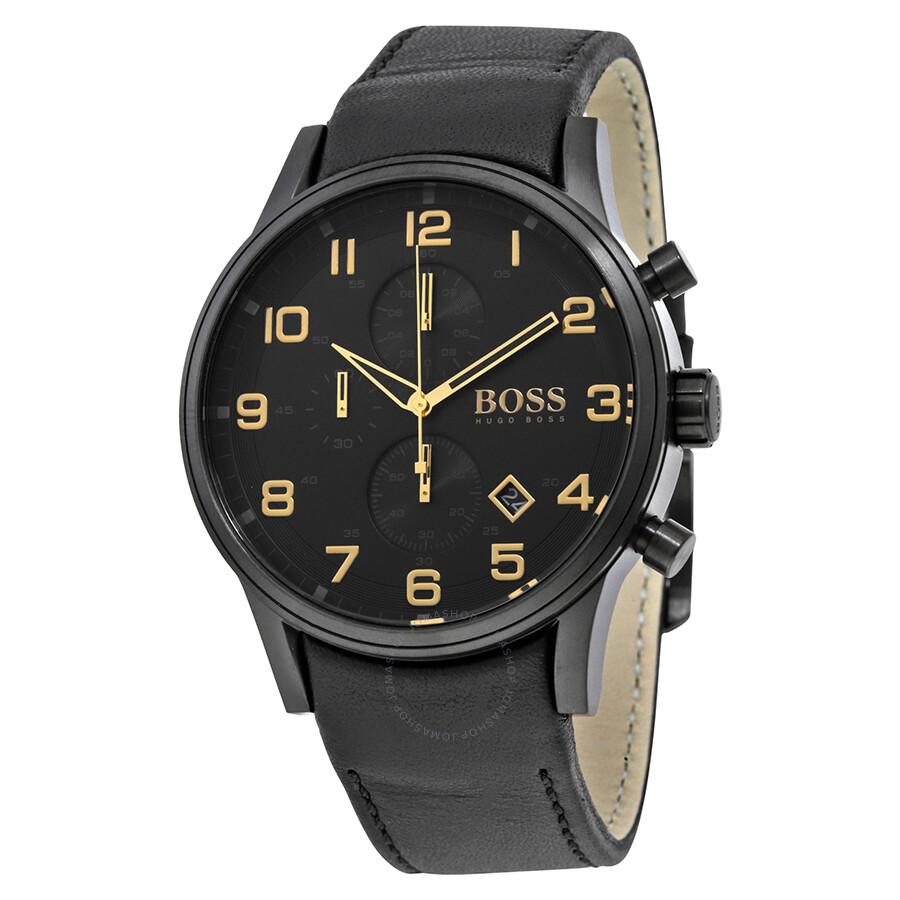 hugo boss aeroliner chronograph black dial black leather. Black Bedroom Furniture Sets. Home Design Ideas