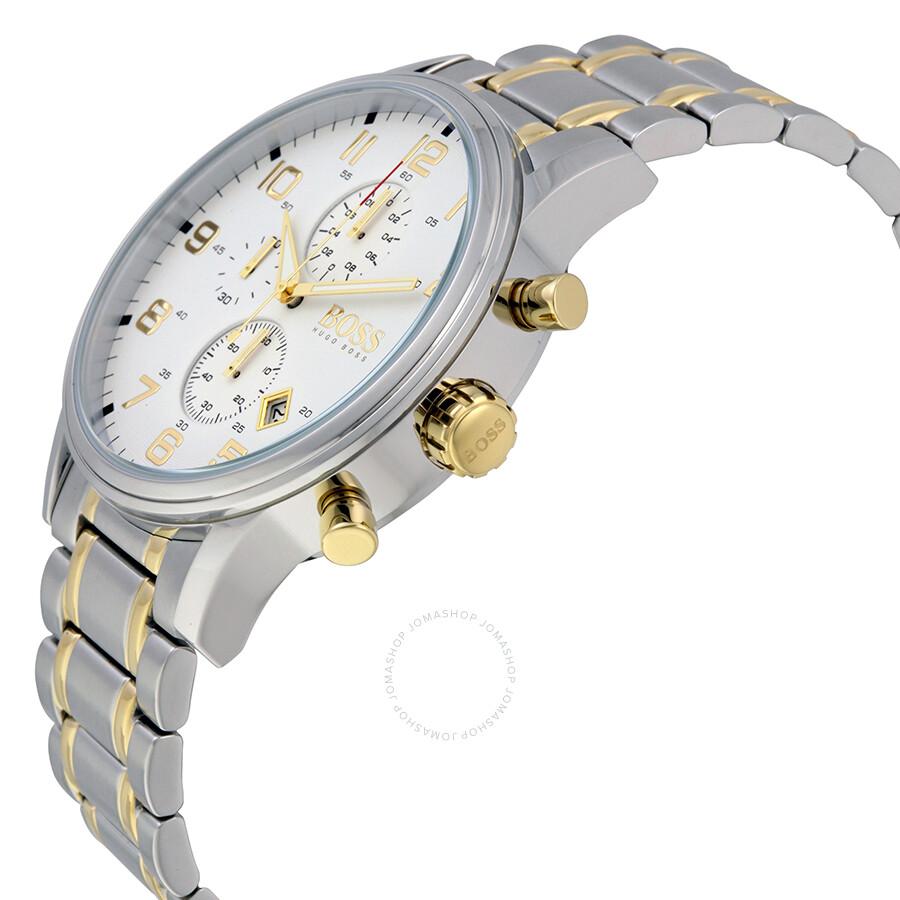 b99ea359a ... Hugo Boss Aeroliner Chronograph White Dial Two-tone Men's Watch 1513236  ...