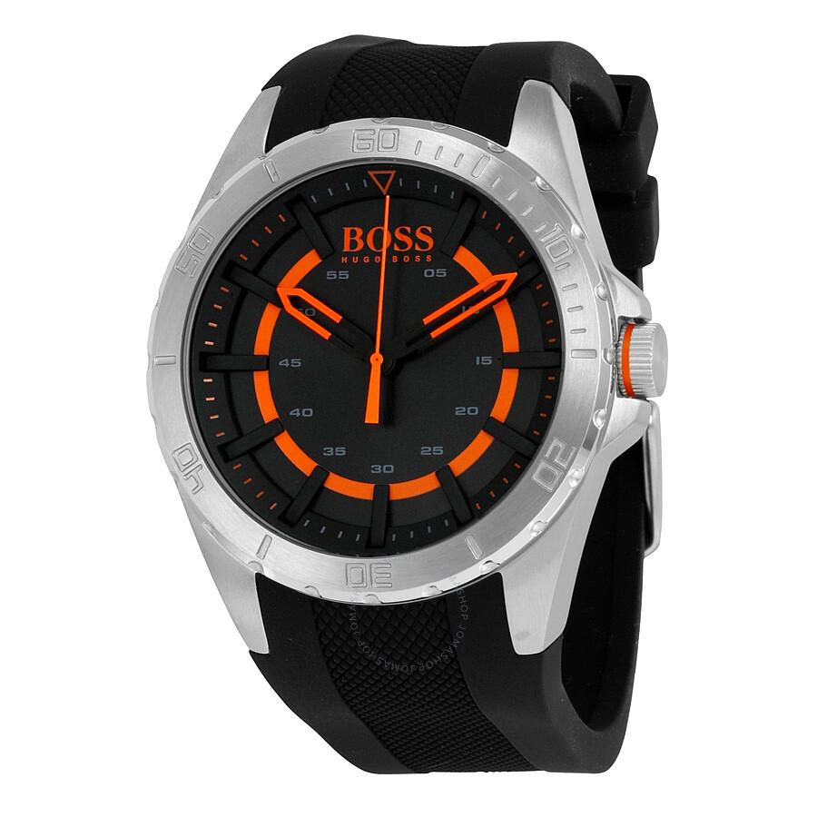 Hugo boss berlin black dial black rubber men 39 s watch 1513200 hugo boss watches jomashop for Hugo boss watches