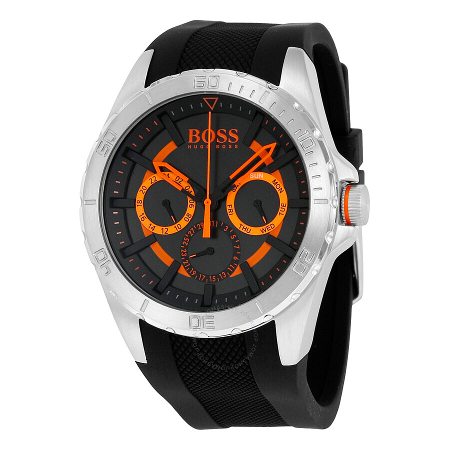 02e0c22968780 Hugo Boss Berlin Multi-Function Black Dial Black Rubber Men s Watch 1513203  ...