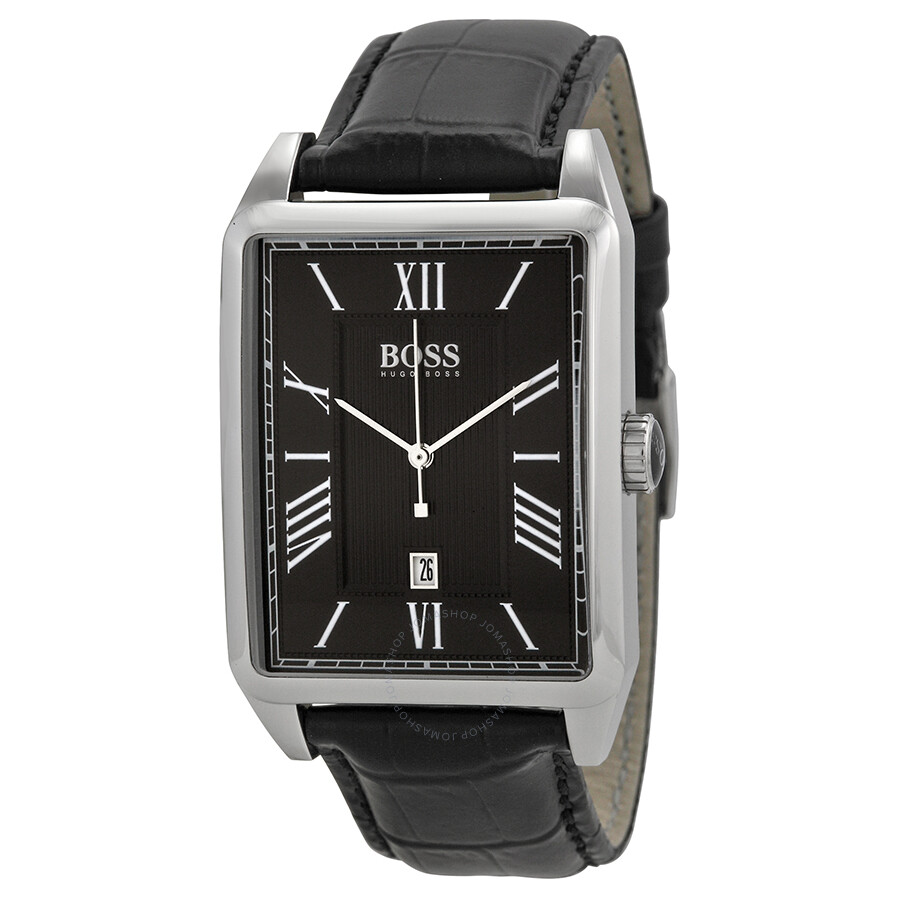 Hugo Boss Black Dial Black Leather Men's Watch 1512425 ...
