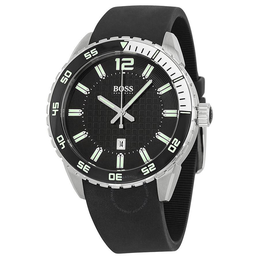 Hugo boss black dial black rubber men 39 s watch 1512885 hugo boss watches jomashop for Hugo boss watches