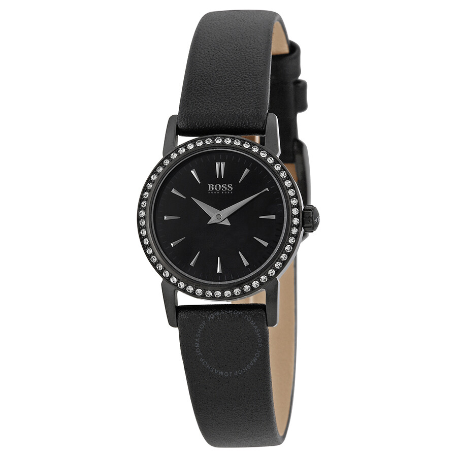 Hugo Boss Black EditionBlack Dial Black Leather Ladies ...