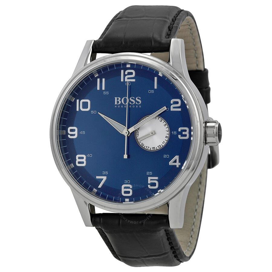 Hugo boss blue dial black leather men 39 s watch 1512790 hugo boss watches jomashop for Hugo boss watches