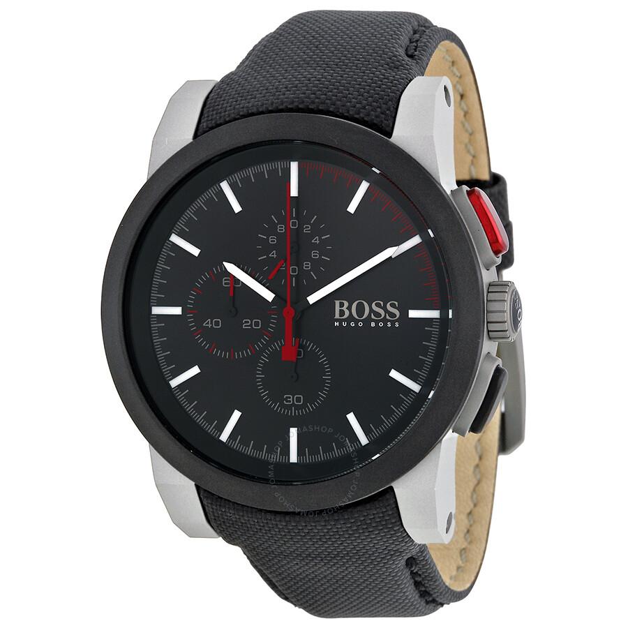 hugo boss chronograph black dial black nylon strap men 39 s. Black Bedroom Furniture Sets. Home Design Ideas