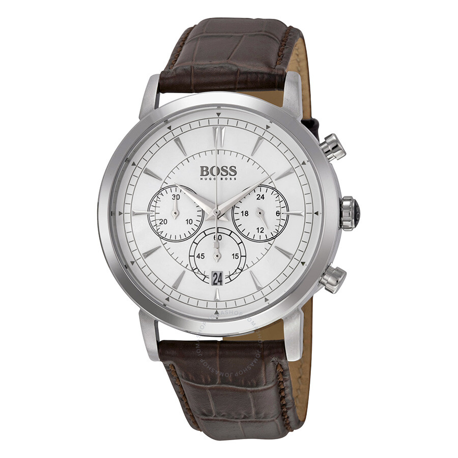 hugo boss chronograph white dial brown leather men 39 s watch. Black Bedroom Furniture Sets. Home Design Ideas