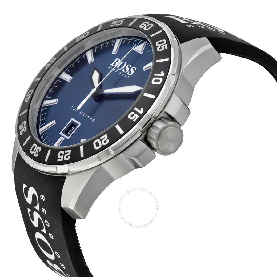 Hugo boss deep ocean blue dial black silicone men 39 s watch 1513232 hugo boss watches jomashop for Hugo boss watches