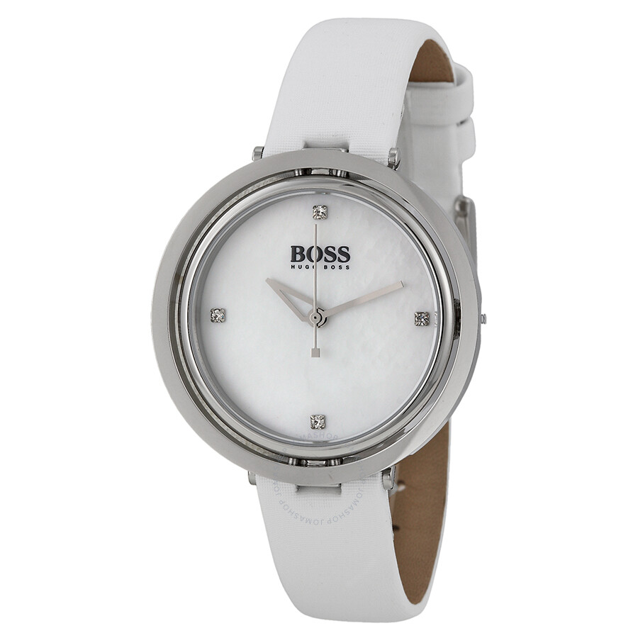 Hugo Boss Illusion Mother Of Pearl Dial White Leather Ladies Watch