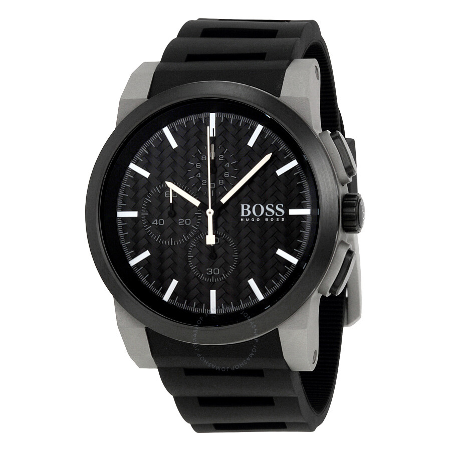 hugo boss neo chronograph black dial black silicone men 39 s. Black Bedroom Furniture Sets. Home Design Ideas