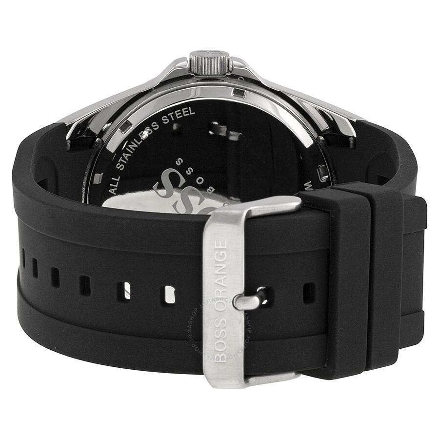 Hugo boss orange black dial black rubber men 39 s watch 1512807 hugo boss watches jomashop for Hugo boss watches