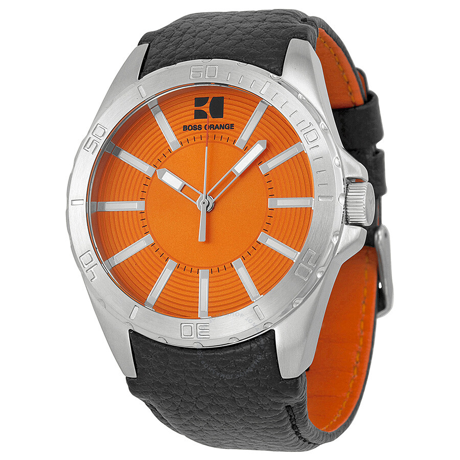 hugo boss orange dial black leather men 39 s watch 1512870. Black Bedroom Furniture Sets. Home Design Ideas