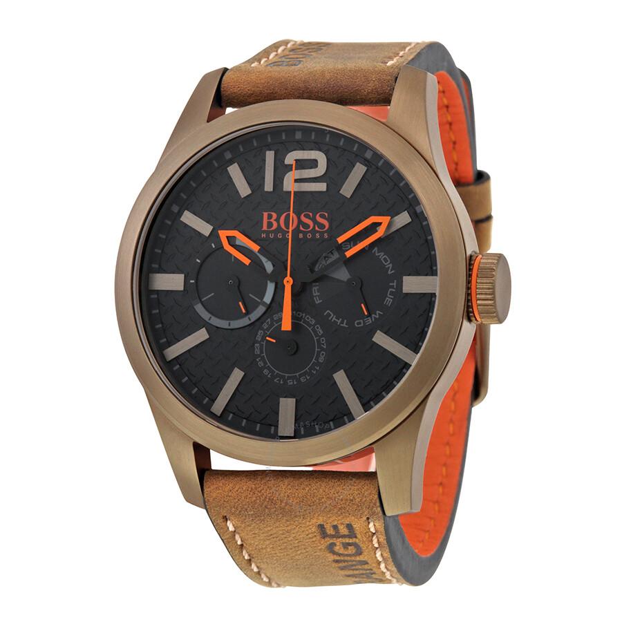 hugo boss orange paris black dial brown leather men 39 s. Black Bedroom Furniture Sets. Home Design Ideas