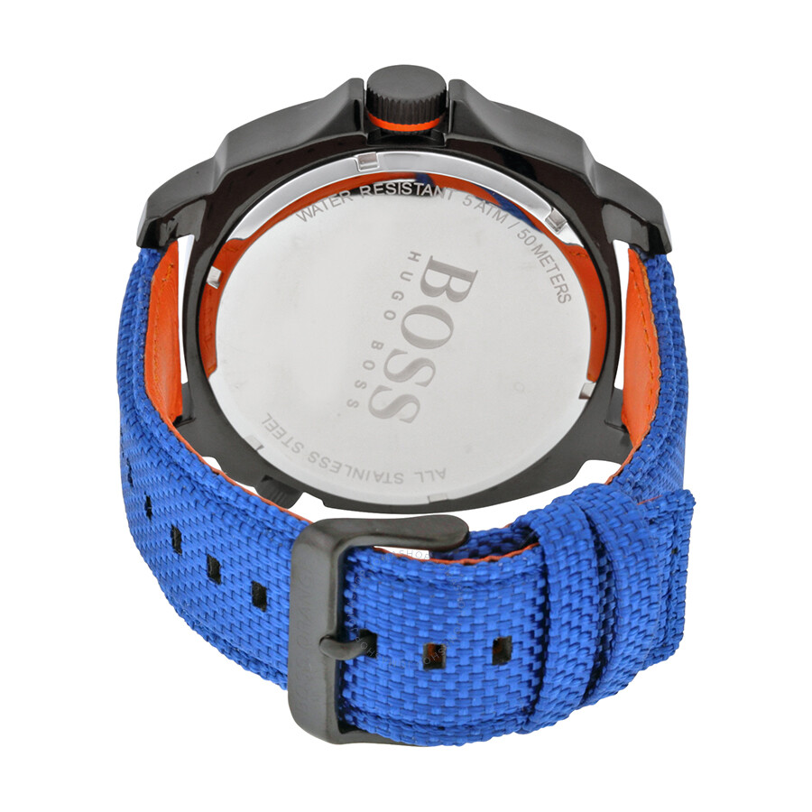 a82d0b202 ... Hugo Boss Orange Series Black Dial Blue Nylon Strap Men's Watch 1513209