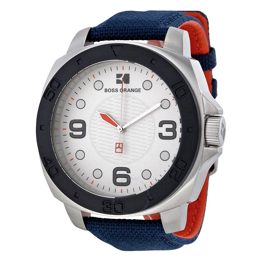Hugo boss orange silver dial blue canvas strap men 39 s watch 1512667 hugo boss watches jomashop for Hugo boss watches