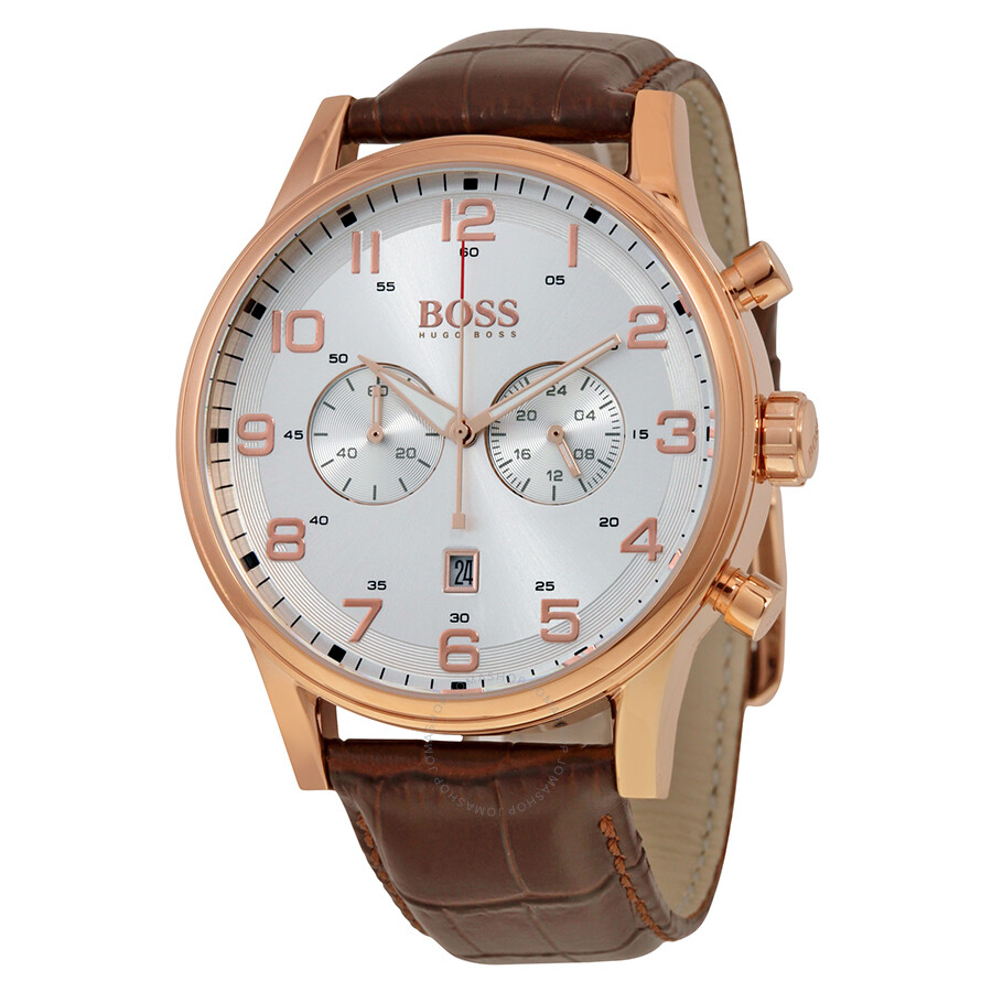 26a99ab68a1c Hugo Boss Silver Dial Brown Leather Men's Watch 1512921 - Hugo Boss ...