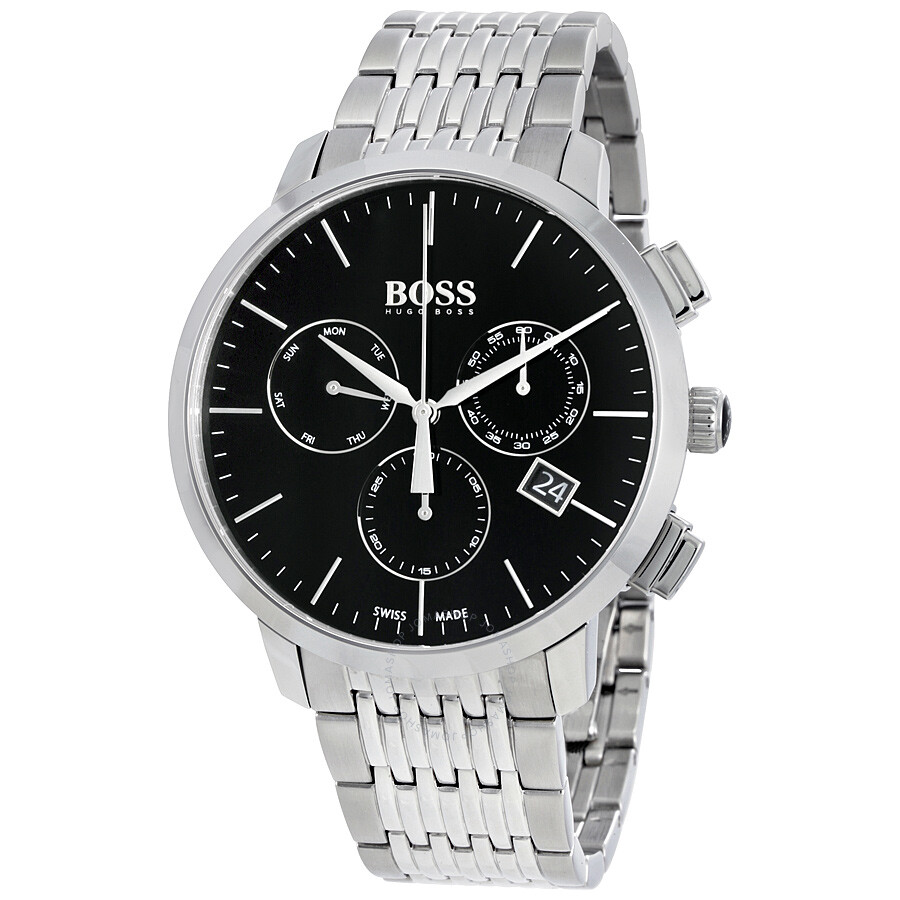4d8748928 Details about Hugo Boss Men's 1513267 Swiss Made Slim Chronograph Stainless Steel  Watch