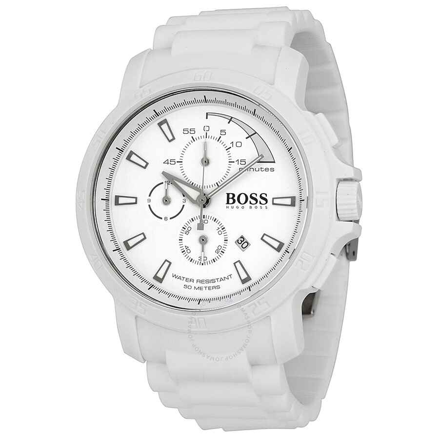 d27057863 Hugo Boss White Out Chronograph White Dial White Rubber Men's Watch 1512848  ...